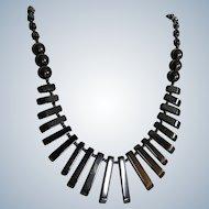Vintage Hematite Graduated Pendant Bead Necklace