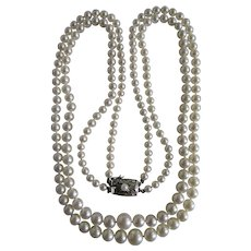 Vintage A Plus Akoya Cultured Pearl Two Strand Silver 850 Necklace