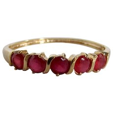 Vintage Lab Created Ruby Gems Semi-Channel & Double Prong Set GP Hinge Bangle Bracelet