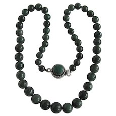 Little Creations Nephrite Jade Graduated Beads Sterling Silver Emerald Clasp with Necklace