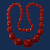 Vintage Cherry Red Galalith Facetted Carved Bead Choker Necklace