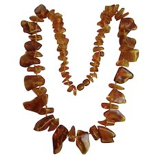 Vintage Natural Clarified Baltic Amber Natural Form Necklace