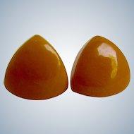 Vintage Bakelite NOS Golden Yellow Smaller Pierced Triangle Earrings