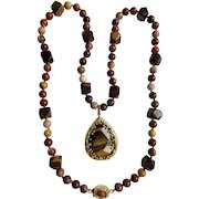 Little Creations 18kt GP Tiger Eye Pendant with Tiger Eye Beads and Banded Agate bead Necklace