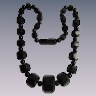 Antique Whitby Jet Polyhedral Graduated Bead Necklace