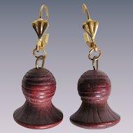 Little Creations GP Leverback Carved Wood Bell Pierced Earrings