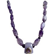 Little Creations 18kt GP Amethyst Polyhedral facetted Graduated Beads Beautiful Focal Bead with Inset Gem Necklace