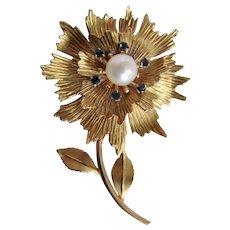 Vintage Signed Krementz Gold Overlay Flower Stem Leaf Motif Cultured Pearl Brooch