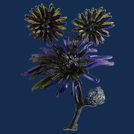 Vintage Cellulose Acetate Purple and Green Blackened Base Metal Flower Clip Earrings and Brooch Set