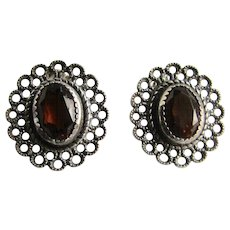Vintage Hessonite Garnet Facetted Gems Hand Crafted Patterned Pierced Earrings