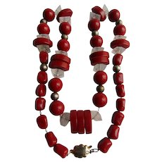 Vintage Art Deco Red Galalith and Lucite Strung on GP Chain Unusual Necklace