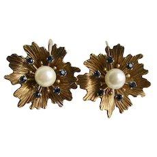 Vintage Signed Krementz Gold Overlay Flower and Stamen Center Motif Cultured Pearl Screw Back Earrings
