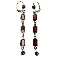 Little Creations Garnet Gems & Garnet Beads SP Leverback Drop Pierced Earrings