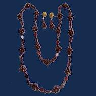 Vintage Garnet Bead Eternity Matching Necklace and GP Pierced Earrings