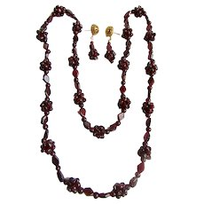 Vintage Garnet Bead Eternity Matching Necklace and GP Pierced Earrings