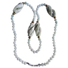 Little Creations Nephrite Jade Twisted Caged Bead 22 Inch SP Lock Pin Clasp Necklace