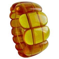 Vintage Genuine Natural Baltic Amber Clarified Link Elastic Bracelet