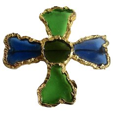 Vintage Signed Joy Resin Plique a Jour Stained Glass Resin Brutalist Style Blue and Green Maltese Cross GP Brooch