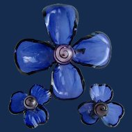 Vintage Cellulose Acetate Transparent Flower Design Clip Earrings and Brooch Signed Japan