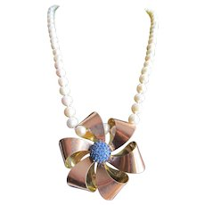 Little Creations 12kt GF Blue Paste Bow Brooch/ Pendant Cultured Freshwater Pearl 18kt Gold Filled Opal Clasp Necklace