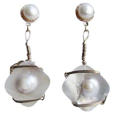 Little Creations Freshwater and Blister Cultured Pearl Gold Filled Wire work Pierced Earrings