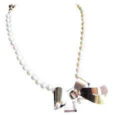 Little Creations 12kt GF Red and White Paste Bow Brooch, Pendant Cultured Freshwater Pearl 18kt Gold Plated Clasp Necklace