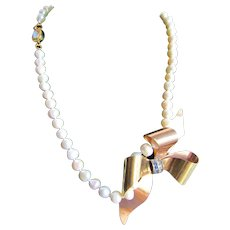 Little Creations 12kt GF Blue and White Paste Bow Brooch/ Pendant Cultured Freshwater Pearl 18kt Gold Plated Opal Clasp Necklace
