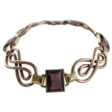 Vintage Signed Simmons Amethyst Paste Emerald Cut with Rose and Yellow GF Links Bracelet