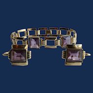 Art Deco Signed Simmons Paste Amethyst Emerald Cut Gem Gold Filled Earrings and Bracelet