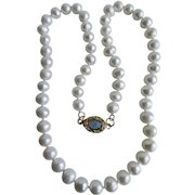 Little Creations 18kt GP Opal Cabochon Clasp with Graduated Freshwater Cultured Pearls 18 Inch Necklace