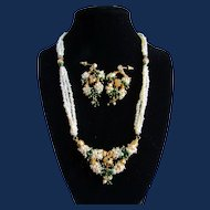 Vintage Cultured Freshwater Pearls and Green Glass Pierced Earrings and Cluster Torsade Necklace GP Set