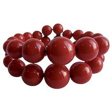 Art Deco Bakelite Graduated Bead Lipstick REd Memory wire Cuff Bracelet