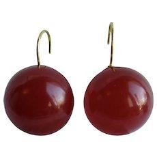 Little Creations Red Prystal Bakelite Translucent  Bakelite 21mm Cabochon Lever Back Pierced Earrings