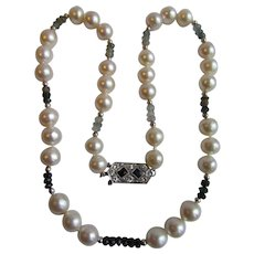Little Creations 12kt South Sea Cultured Pearl 9.30- 10mm Semi-Baroque & Tourmaline and Blue Sapphire & Diamond Necklace