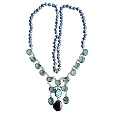 Little Creations Lab Created Synthetic Spinels with A Plus Blue Cultured Pearls Sterling Silver Wire Lab Created Color Change Necklace