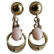 Vintage Sorrento Angel skin Coral Cabochon Filigree Omega Pierced Earrings