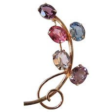 Vintage 12kt GF 1 /20th Real Amethyst and Topaz GEMS Signed Rolyn Inc. Flowering Vine Brooch