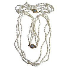Little Creations 18kt GF Opal Cabochons 3 Strand Freshwater Rice Cultured Pearl Torsade Necklace and Bracelet Set