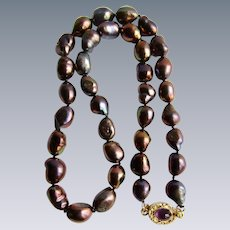 Little Creations 18kt GP Amethyst Cabochon Baroque Peacock Color Treated Freshwater Cultured Pearls Necklace