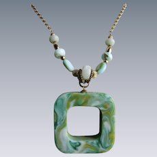 Little Creations Lucite Turquoise Swirl Square Pendant on GP Adjustable Chain with Larimar Stones