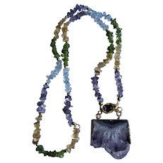 Little Creation 18kt GP Purple Amethyst Geode Druzy Slice Pendant on Topaz, Citrine, Amethyst and Peridot Chip Necklace