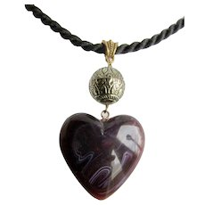 Vintage Purple Puffy Heart Large Pendant Lucite with White Swirls on a Black Cord Necklace
