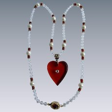 Little Creations 18kt GP Red Lucite Heart Rhinestone Pendant , Crystal, Cultured Freshwater Pearl Beads with Cabochon Clasp Necklace