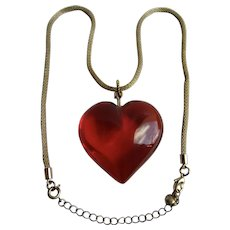 Vintage Red Lucite Puffy Heart Large Scale Pendant on Mesh Chain Necklace