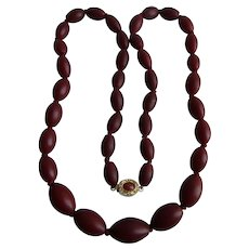 Vintage 18kt GP Galalith Graduated Wine Red Oval Beads Necklace