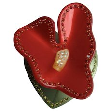 Vintage Celluloid Red Yellow and Green Exotic Anthurium Flower Inlaid Rhinestone Pin