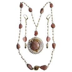 Little Creations 18kt GP Rhodochrosite Cultured Pearl GP Pendant and GP Wired Necklace with Matching Extra Long  Pierced Earrings