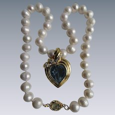 Little Creations 18kt GP Aquamarine Cabochon and Paste Aquamarine Heart Enhancer with Freshwater Cultured Pearl Necklace