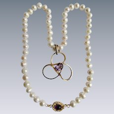 Little Creations 18kt GP Amethyst Gold Filled  with Amethyst Triple Circles Brooch on Cultured Freshwater Pearl Necklace