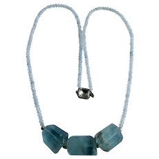 Little Creations Sterling Aquamarine Rondelle and Fluorite Crystal Triple Free Form Focal Necklace
